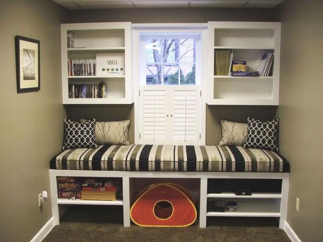 Family room window seat for Basement window treatment ideas