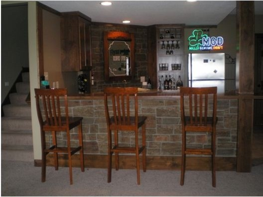 Faux Stone Wet Bar Design Traditional Basement New
