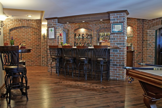 Finished Basement Bars Mesmerizing Finished Basement Bar And Billiard Room  Traditional  Basement Design Ideas