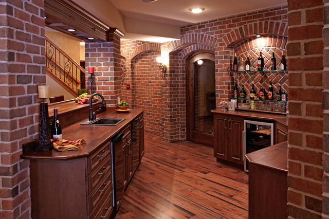 Finished Basement Bars Entrancing Finished Basement Bar  Traditional  Basement  Detroit M.j. Inspiration