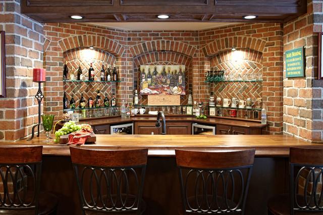 Finished basement bar basement detroit by m j whelan construction - Brick bar design ...
