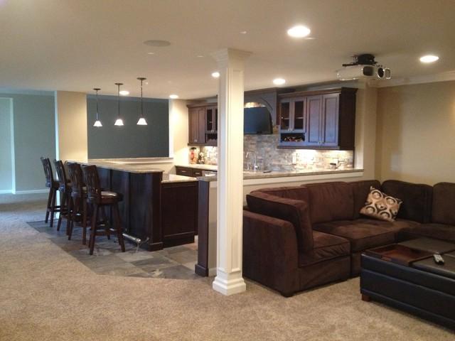 Finished basement carpet modern basement detroit for Modern finished basements
