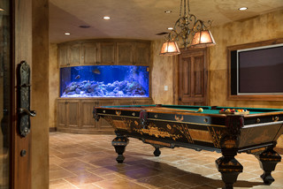 Finished Basement with Billiards and Custom Live Reef Fish ...
