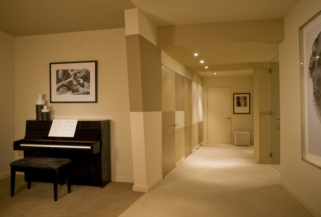 finished basement with music studio contemporary basement other