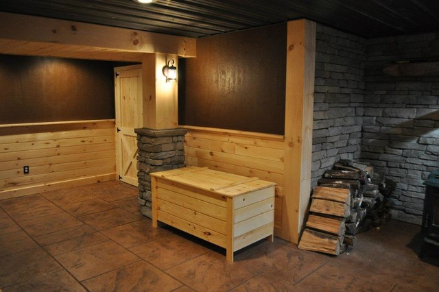 Finished Basements Rustic Basement