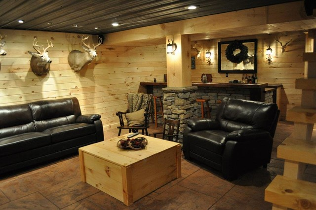 Attractive Finished Basements Rustic Basement