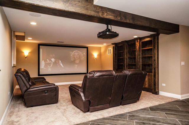 Finished Luxury Basement In Naperville Rustic Basement