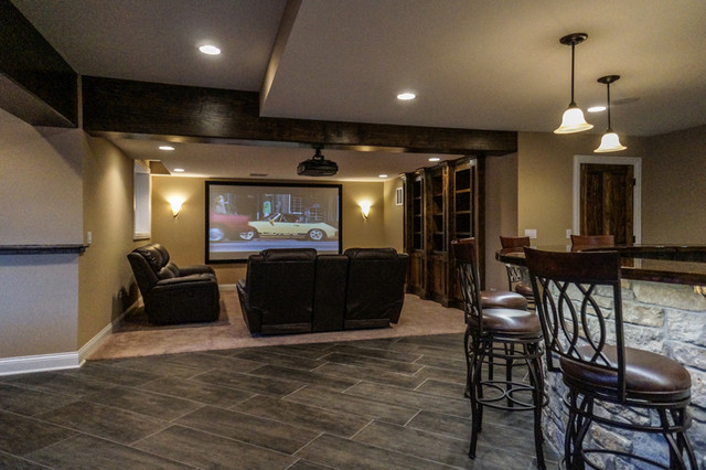 Finished luxury basement in naperville rustic basement for Rustic finished basement