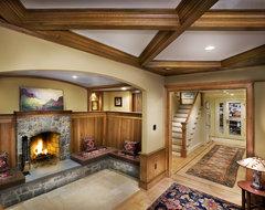 Fireplace contemporary-basement