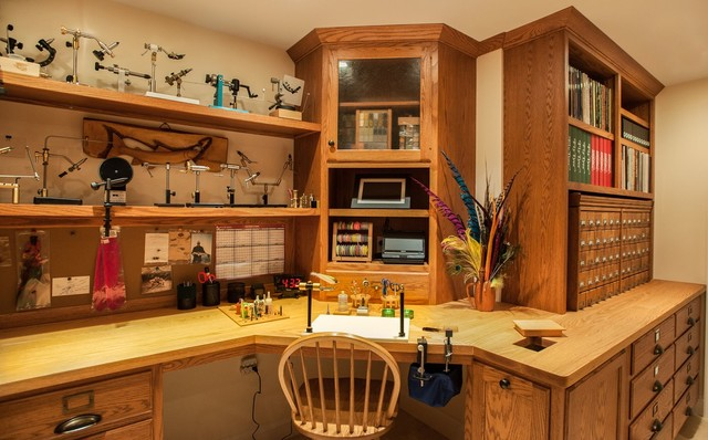 Captivating Fly Tying Room Traditional Basement