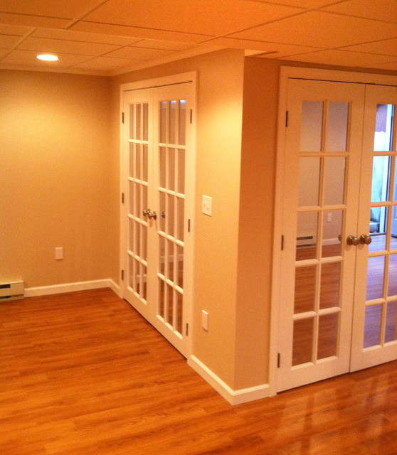 french doors in a basement transition contemporary basement