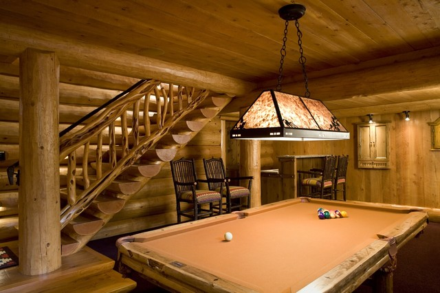 Game room rustic basement minneapolis by bill for Log cabin basement ideas
