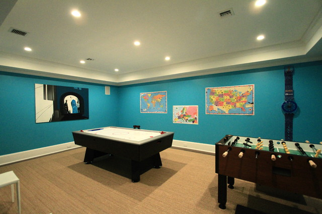 game room in lower level eclectic basement new york by
