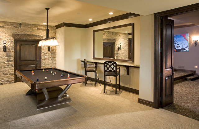 Game Room traditional basement