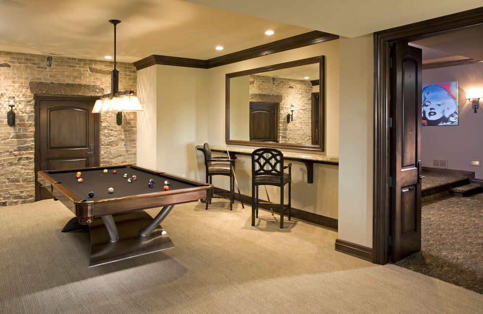 Basement game room - traditional carpeted and beige floor basement game room idea in Minneapolis with beige walls