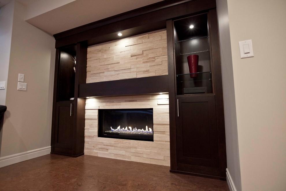 Basement - contemporary basement idea in Calgary