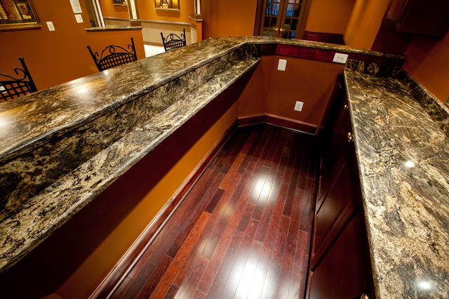 Man Cave Drinks Bar : Golden thunder granite in basement bar entertainment