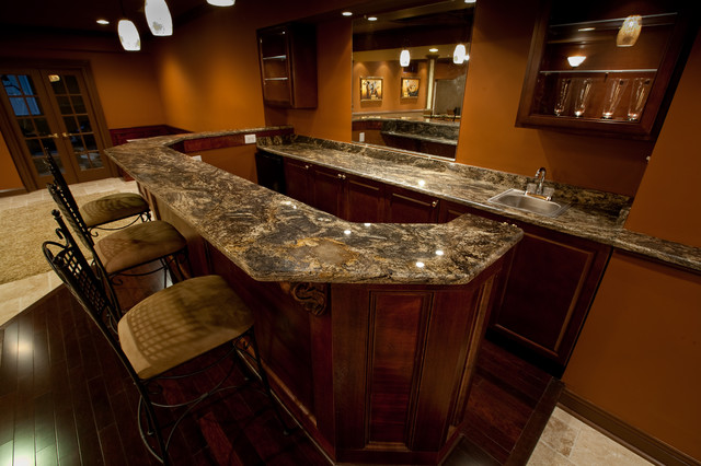Golden Thunder Granite In Basement Bar amp Entertainment