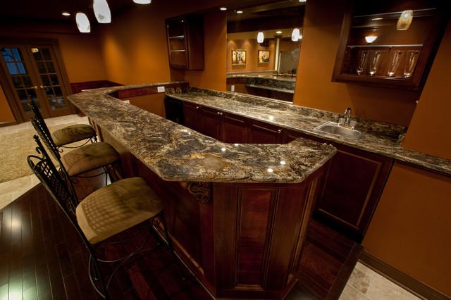 Golden Thunder Granite In Basement Bar Amp Entertainment