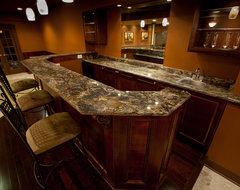 Golden Thunder Granite in Basement Bar & Entertainment Room traditional-basement