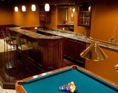 Golden Thunder Granite in Basement Bar & Entertainment Room traditional-basement