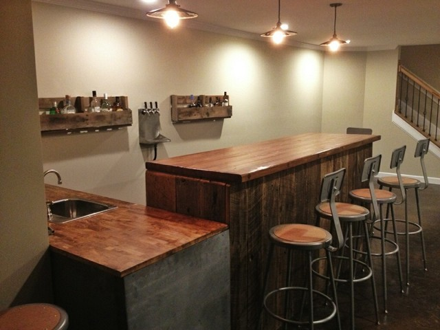 Grant bar industrial basement nashville by ausden inc for Building a home bar with kitchen cabinets