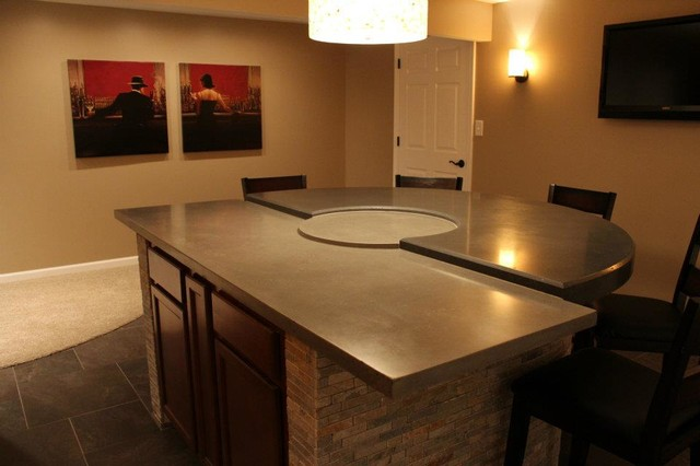 Grey And Charcoal Multi Level Concrete Countertops