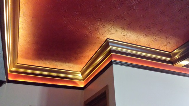 Handsome coffered ceiling with rope lighting in Lebanon basement  traditional-basement