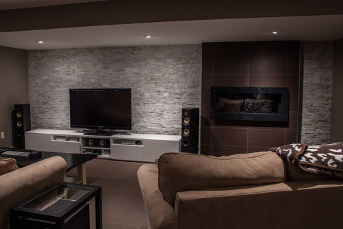 Stone wall for Modern basement remodeling ideas