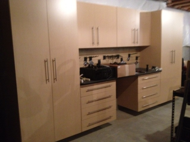 Hardrock Maple Basement Workshop Cabinets Modern Basement