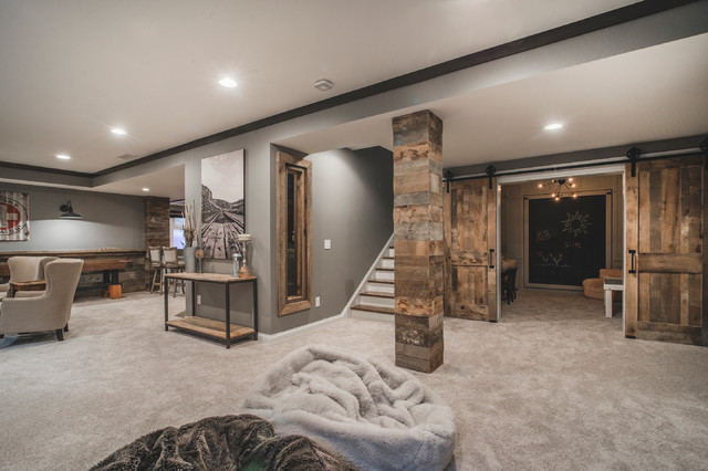 Harlan Court Finished Lower Level Rustic Basement Columbus By The B