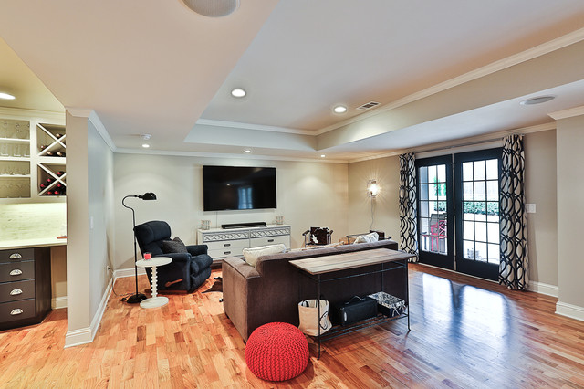 Basement - mid-sized transitional walk-out light wood floor basement idea in Atlanta with gray walls and no fireplace