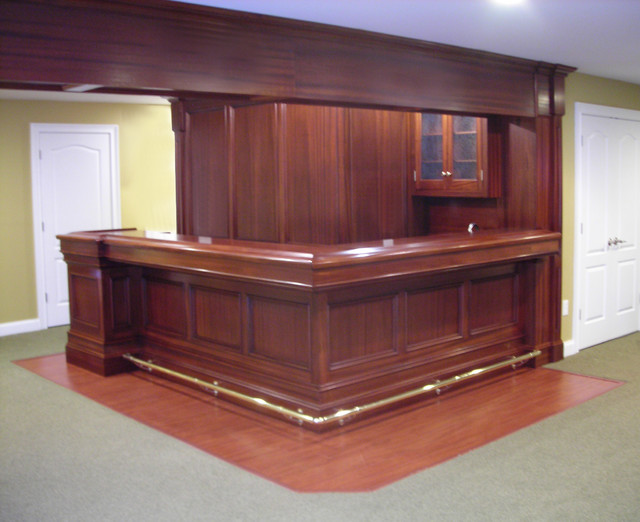 Home Bar In Mahogany Traditional Basement New York By Sunrise Custom Woodworking