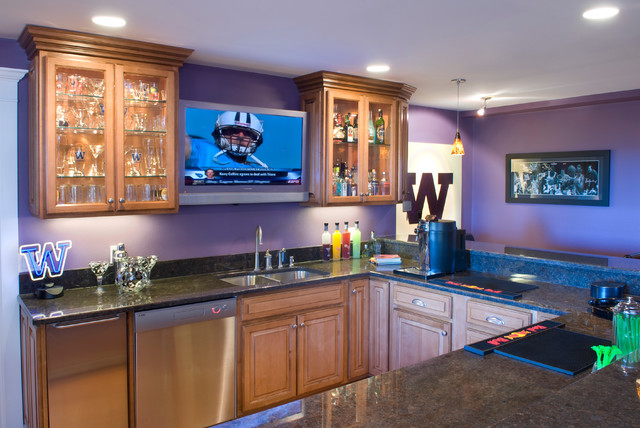 Home sports bar contemporary basement seattle by kasabella Home bar furniture seattle