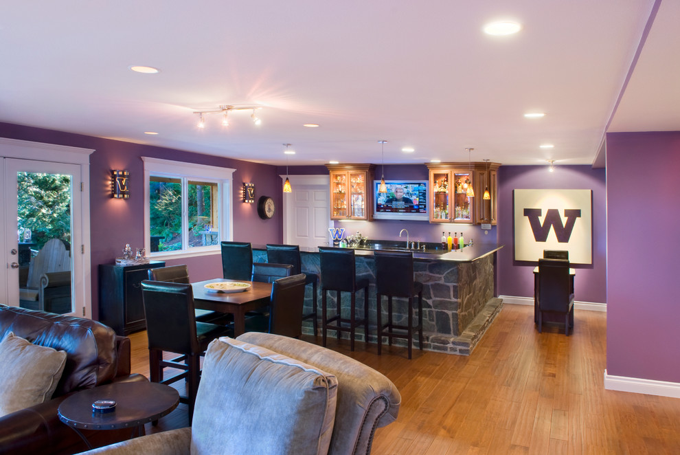 Home Sports Bar Contemporary Basement Seattle By Kasabella