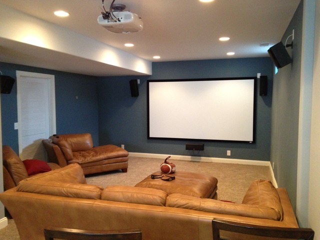 Home Theater On Cin Cir Traditional Basement Omaha