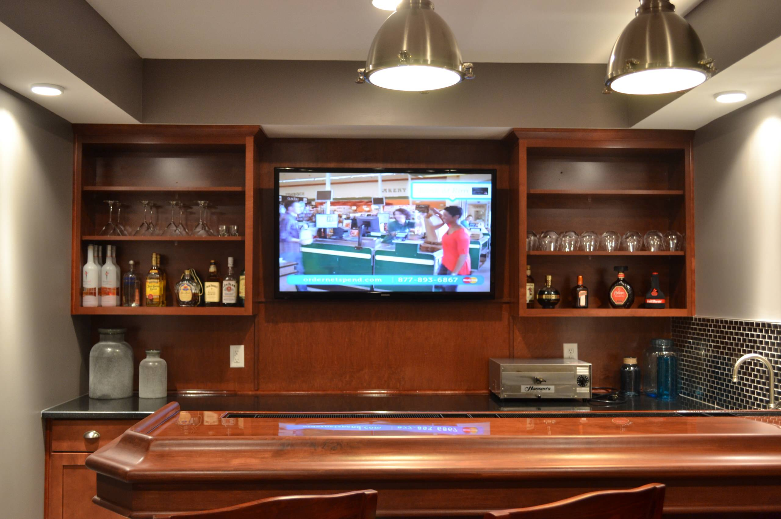 """Indianapolis, IN - 50"""" TV above Basement Bar"""