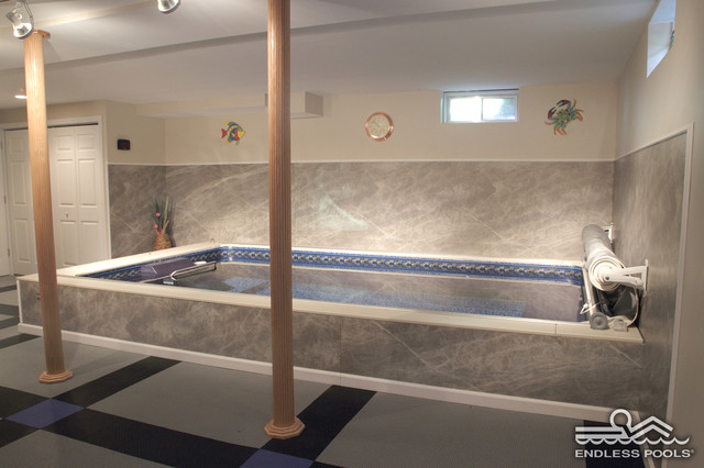 Indoor Basement Endless Pool Contemporary Basement Boston