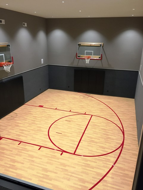 Indoor basketball court transitional basement for Home indoor basketball court cost