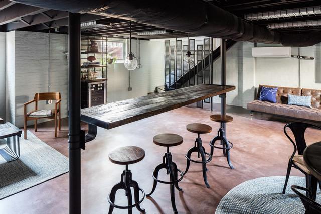 Industrial deco lounge industriel sous sol raleigh for Industrial deko