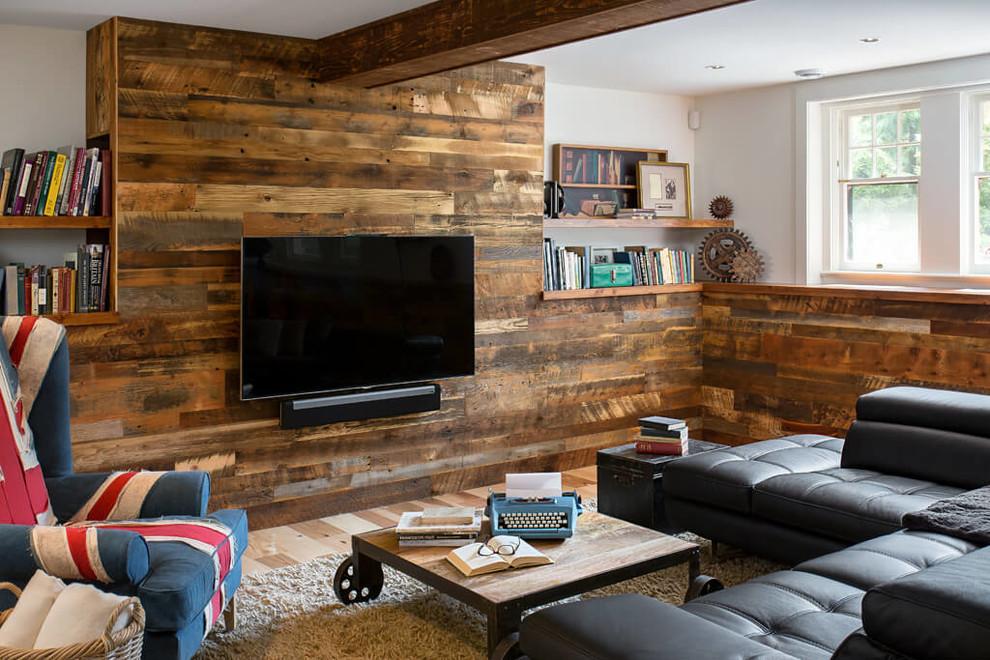 Example of an urban medium tone wood floor and beige floor basement design in Denver with white walls