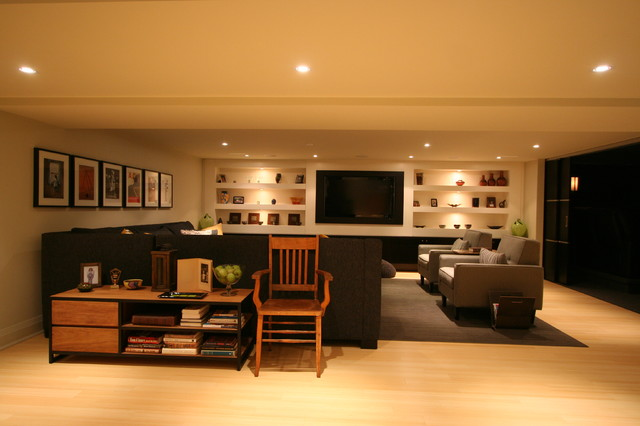 Interior design contemporary basement burlington by interior works inc - Basements by design ...
