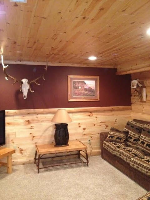 Interior Pictures Of Log Paneling, And Log Siding Rustic Basement