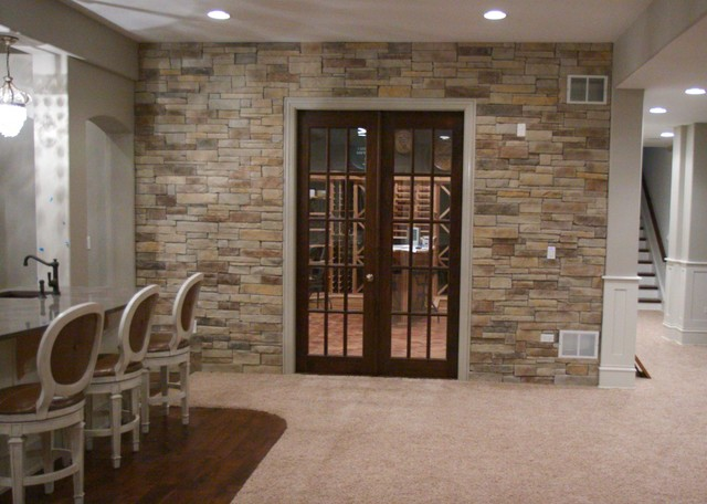 Delightful Interior Stone Veneer   Basements Traditional Basement