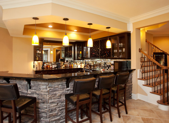 Inverness Residence Bar Traditional Basement Atlanta