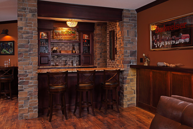 Irish Pub Style Basement Finish Rustic Basement
