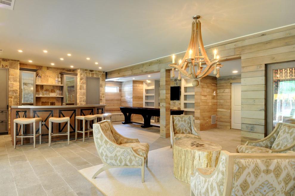 Example of a coastal beige floor basement design in Atlanta