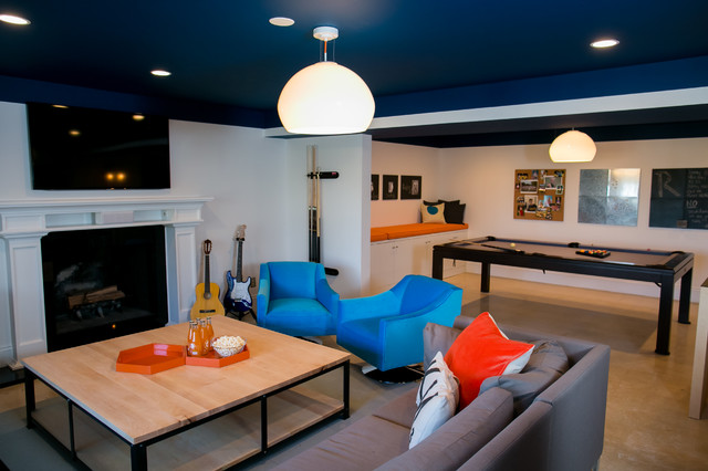 basement ideas for teenagers. Inspiration for a modern beige floor basement remodel in DC Metro Playroom For Teens Basement Ideas  Photos Houzz