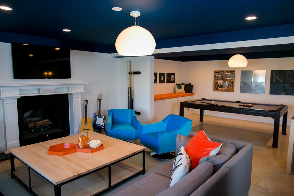 Inspiration for a modern beige floor basement remodel in DC Metro