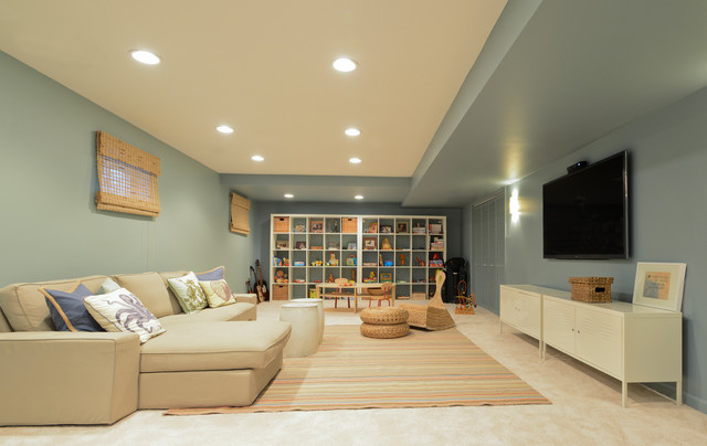 Ken caryl ranch waverly mountain transitional basement for Paint ideas for basement family room